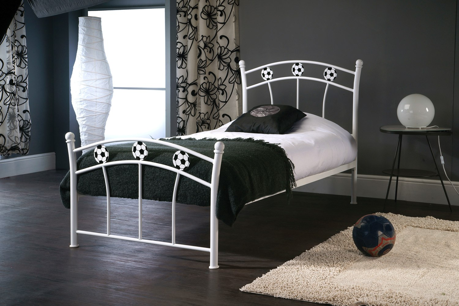 Soccer White Single Childs Bedframe available from the world of beds, askern, doncaster, south yorkshire