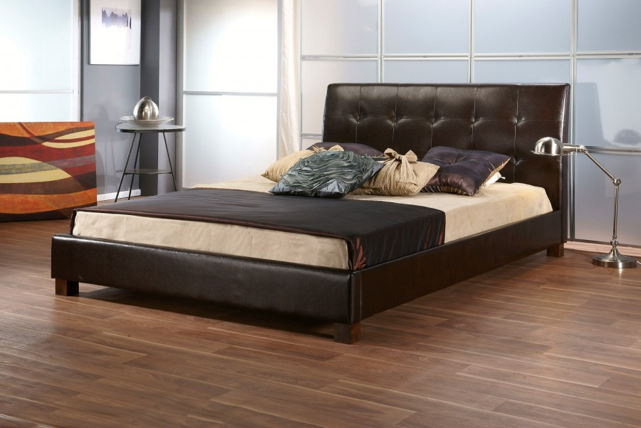 Tuscan Brown faux leather bedframe available from the world of beds, doncaster