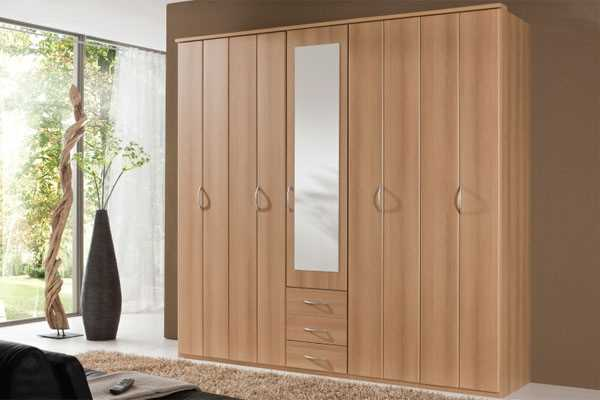 Crowther Beech 5 Door Combi Logo Wardrobe available from the world of beds, doncaster