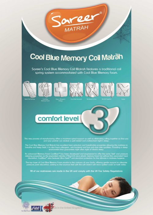 Sareer Cool Blue Coil Matrah available from the world of beds, doncaster, south yorkshire
